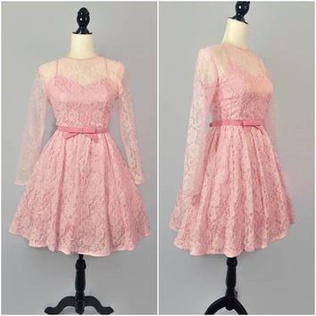 Vintage 80s Pink Lace Mini Dress XS Tulle Full Skirt Fit Flare Skater Crinoline Tank Long Sleeve 50s Retro Party Prom