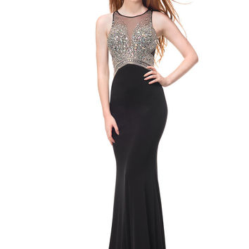 COLORS 1456 High Neck Jeweled Jersey Prom Dress Evening Gown