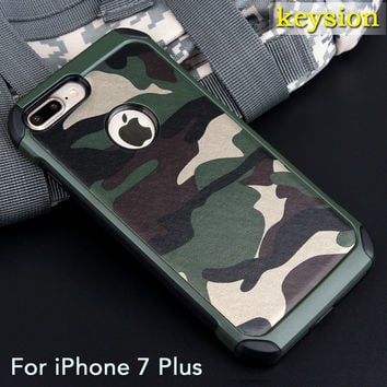 Case for iPhone 7 Plus 5.5'' 2in1 Armor Hybrid Plastic+TPU Army Camo Camouflage Rear with Special Shockproof Angle Phone Cover