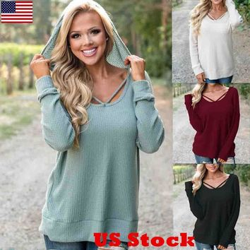 US Women Long Sleeve Loose Tops Hoodie Casual Blouse T-shirt Hooded Cotton Shirt