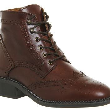 Office Limerick Brogue Lace Up Boots Brown Leather - Ankle Boots