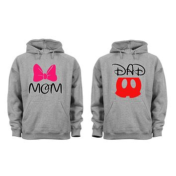 XtraFly Apparel Dad Daddy Mom Mommy Valentine's Matching Couples Hooded-Sweatshirt Pullover Hoodie