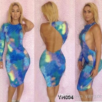 Sexy Women's One-Shoulder Bodycon Dresses Galaxy Ombre Colors Party Fashion Bohemian Patterns Cocktail Celebrity Doll Dress