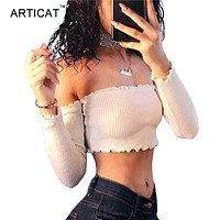 Off Shoulder Long Sleeve T-shirt Women Crop Top  Stringy  Party Bustier Crop Top