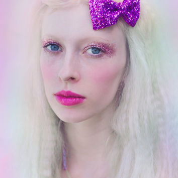 Purple Glitter Hair Bow Sparkly Cute Kawaii Glitter Bow