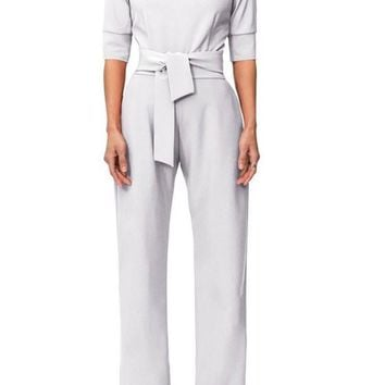 White Pockets Zipper Drawstring Waist Fashion Long Jumpsuit