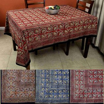 Hand Block Print Dabu Tablecloth Rectangular 60x90 inches Floral Blue Brown Red