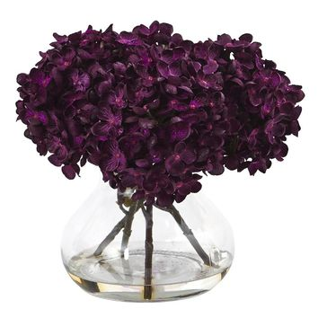 Silk Flowers -Purple Hydrangea With Vase Flower Arrangement Artificial Plant