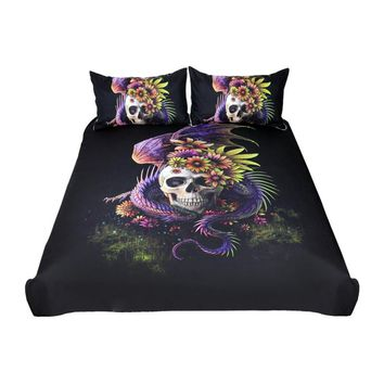 Flowery Skull Bedding Set (Super Soft Duvet Cover with Pillowcases)