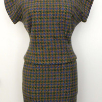 SALE Vintage 40s 50s Skirt Suit / Sapphire Emerald Gold Wool Tweed Houndstooth Plaid Girl Friday Wiggle Dress Skirt Suit Blazer