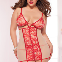 Red Tattoo Rose Chemise Thong Lingerie Set Plus