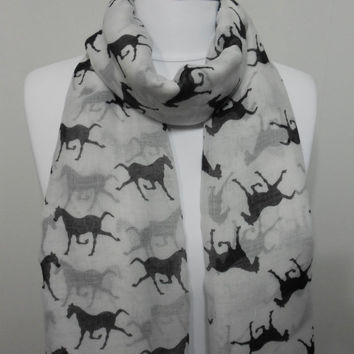 White Horse Scarf Shawl Beach Wrap Runnning Horse Cowl Scarf Pareo Large Scarf Oversized Scarf Lightweigt Scarf, Gift for Her, ScarfClub