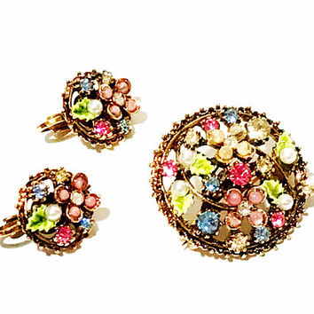 Vintage Signed ART Flower Brooch Earring Set, Pink and Green Rhinestone Flowers, Enamel, Antiqued Gold Tone, Open Work, Designer Signed