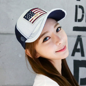 New Fashion Denim Baseball Hats Diamante Net Women National Flag Pattern Sun Hat