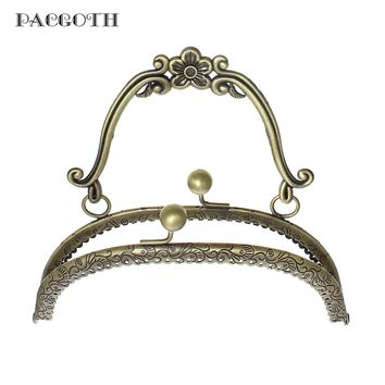 PACGOTH Iron Based Alloy Kiss Clasp Lock Purse Frame Arch Antique Bronze Flower Handle (Can Hold Rhinestone) 16.5x15cm, 1 PC