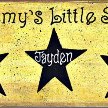 "Primitive ,""Rustic Stars"" (Personalized Sign) Custom, Rustic wood ,Wall Decor, distressed, aged, customize able, 4"" X 12"""