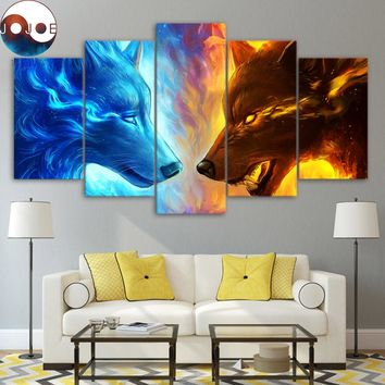 Fire and Ice by JoJoesArt HD print 5 piece canvas art Fire and Ice wolf two wolves Wall Art Picture Home Decoration CU-3091C