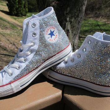 ICIKGQ8 rhinestone converse high tops including shoes read description