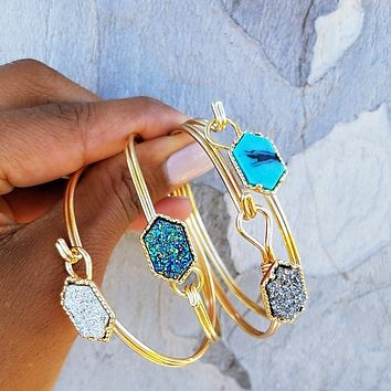 Hexagon Bangle Bracelet
