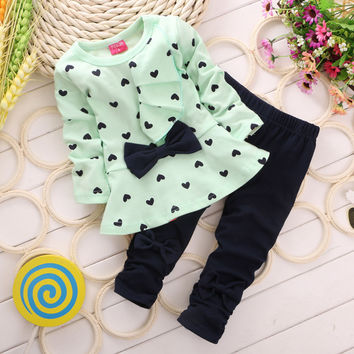 Children Baby Girl Heart-shaped Bow 2PCS Clothes Set Outfits Top Sweater + Pants