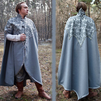 Fantasy cloak Elven cloak Fantasy mantle King mantle LARP cloak Elven garb Elven clothing Renaissance cloak silver cloak medieval wedding