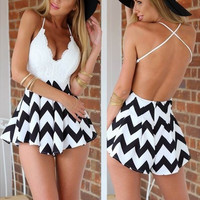 V neck sling Jumpsuit sexy backless short