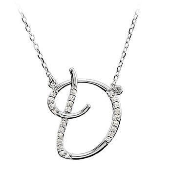1/8 Ct Diamond 14k White Gold Medium Script Initial D Necklace, 17in