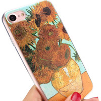 Phone Cases For iPhone 7 Plus 6 6s plus 5 5s SE 4 Case Floral Plant Vincent Van Gogh Starry Sky Painting Vintage Art Soft Case