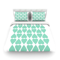 "Project M ""Mint Diamond Hearts"" Cotton Duvet"