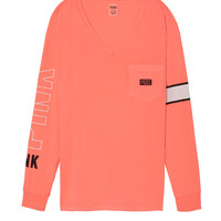 Long Sleeve V-Neck Campus Tee - PINK - Victoria's Secret