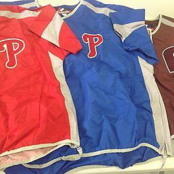 PHILADELPHIA PHILLIES MAJESTIC MLB SHORT SLEEVE PULLOVER LIGHT    SHIPPING!