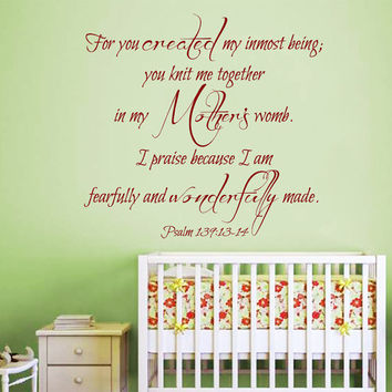 Mother Wall Decals Psalm 139 Quote I'm Fearfully And Wonderfully Made Verses Vinyl Decal Sticker Boy Girl Kids Nursery Baby Room Decor kk837