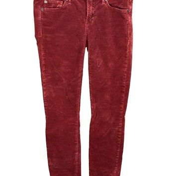 Gap 1969 Always Skinny Jeans Raisin Red Wash Corduroy Womens Size 25 - Preowned