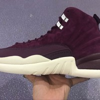 Air Jordan 12 Retro AJ12 Velvet Bordeaux/Sail-Metallic Silver Basketball Shoes US 7-12