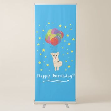 Puppy with Balloons Retractable Banner