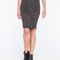 Full Tilt Space Dye Womens Midi Dolphin Skirt Black/White  In Sizes