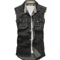 Vintage Men's Casual Retro Slim Fit Sleeveless Denim Vest Outwear
