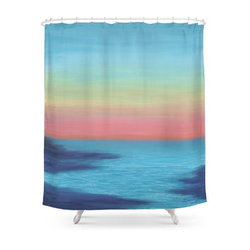Society6 Coral Sunset Shower Curtain