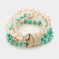 Gold & beige suede detail teal multi-strand glass bead stretch bracelet