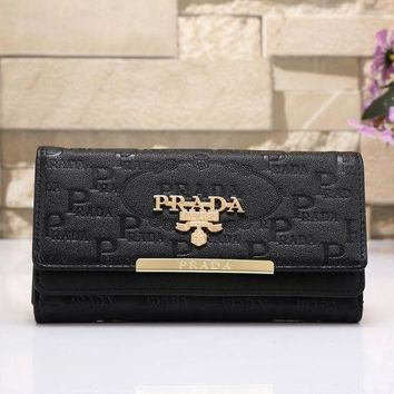 PEAPJ3V PRADA Women Fashion Leather Shopping Wallet Purse-4
