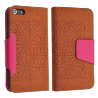 Brown Faux Leather Flip Wallet Case Cover w/Card Pouch for Apple iPhone 5