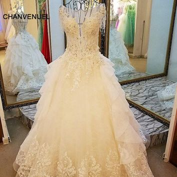 LS7899 ivory lace wedding gowns beading ball gown O neck cap sleeves lace wedding dress for bridal  real photos china online who