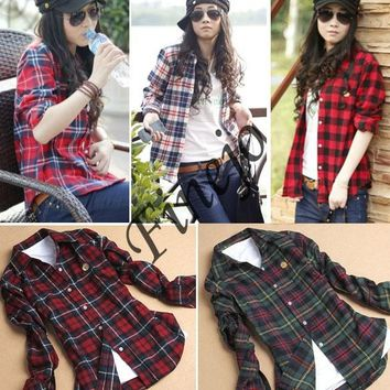 Women's Button Up Flannel Blouse. A cool weather must have.
