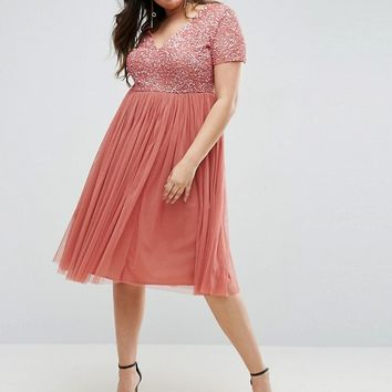 Maya Plus Sequin Embellishment Midi Dress With Tulle Skirt at asos.com