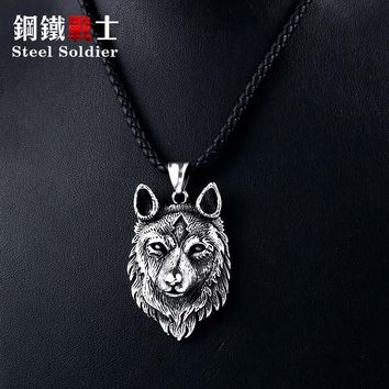 Steel soldier special design punk wolf pendant viking celt 316L stainless steel necklace men amulet Fashion jewelry Boys gift