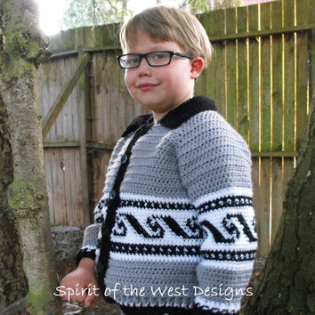 Coastal Cardigan Crochet Cowichan salish style - Crochet pattern - sweater, Button-up, child cardigan, jacket, toddler, child, hippy, native