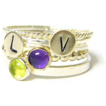 Initial ring set Sterling silver stacking ring set by WatchMeWorld