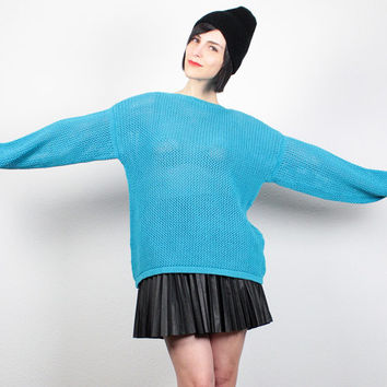 Vintage 80s Sweater Teal Blue Crochet Sweater Open Weave Knit Jumper 1980s Pullover Sheer Mesh Cosby Sweater Aqua Blue New Wave L Large XL
