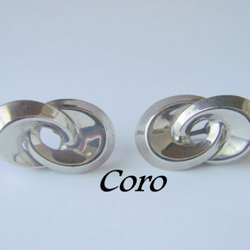 40s Vintage Coro Earrings / Screw Back / Designer Signed / Silver Tone / Jewelry / Jewellery