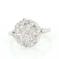 Vintage Art Deco 0.50ct Diamond Round Cluster Ring 14k White Gold Estate Jewelry 6